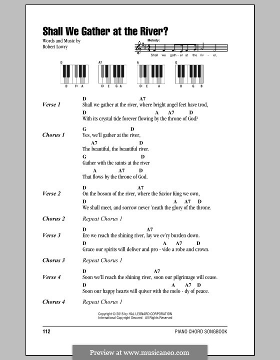 Shall We Gather at the River by R. Lowry - sheet music on MusicaNeo