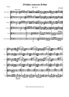 Concerto for Two Violins and Strings in D Major, RV 513: Score and all parts by Antonio Vivaldi