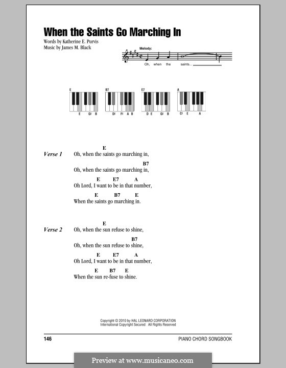 When the Saints Go Marching In: Lyrics and chords by James Milton Black