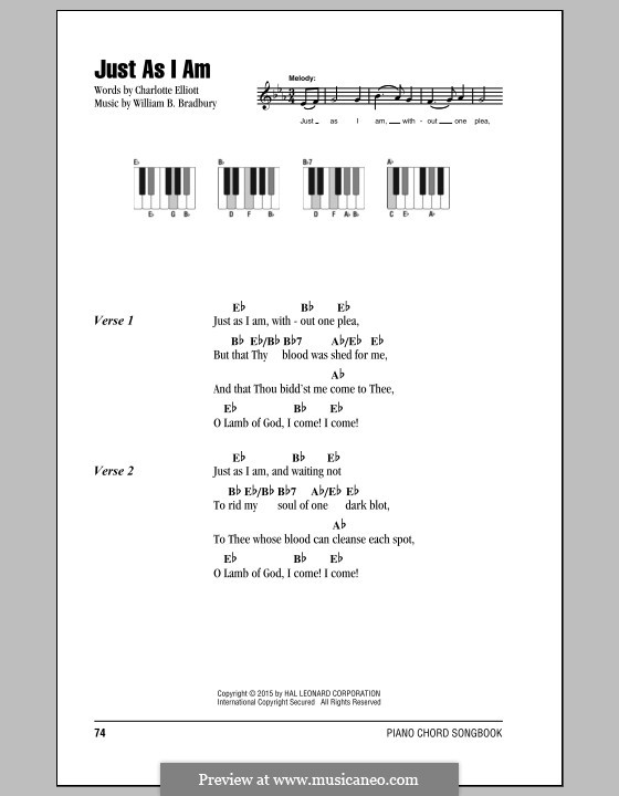 Just as I am: Lyrics and chords by William Batchelder Bradbury