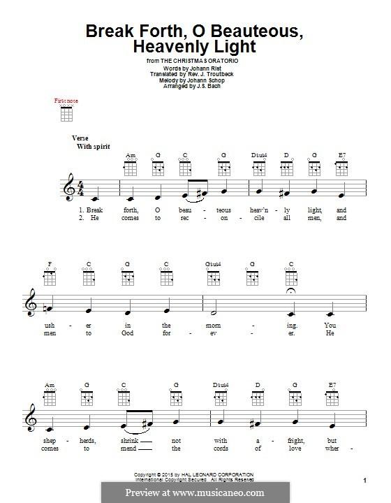 Break Forth, o Beauteous, Heavenly Light: For ukulele by Johann Schop