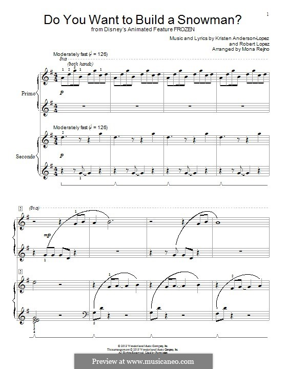 Do You Want to Build a Snowman? (Kristen Bell): For piano by Robert Lopez, Kristen Anderson-Lopez