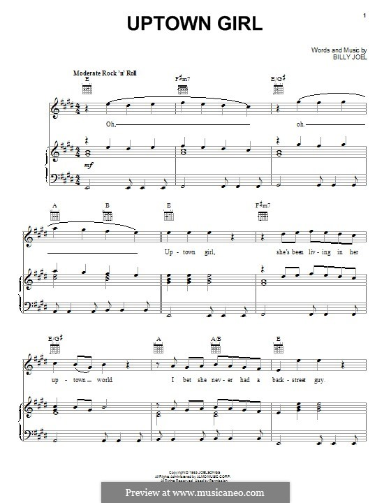 Uptown Girl: For voice and piano (or guitar) by Billy Joel