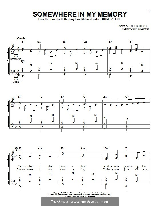 Somewhere in My Memory: For accordion by John Williams