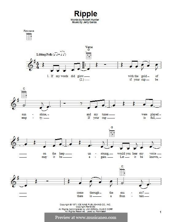 Ripple (The Grateful Dead): For ukulele by Jerry Garcia, Robert Hunter