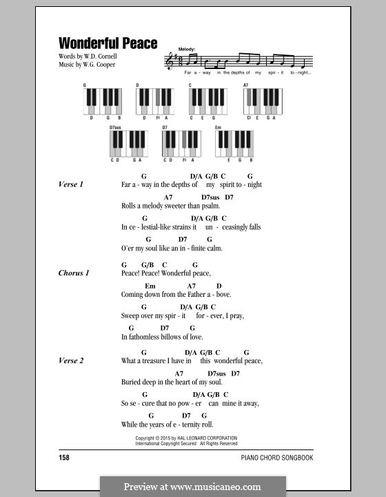 Wonderful Peace: Lyrics and chords by W.G. Cooper