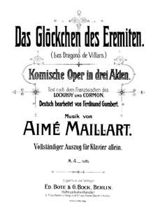Les Dragons de Villars: For piano by Aimé Maillart