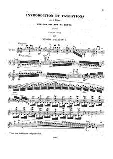 Two Pieces for Violin: Introduction and Variations on Theme 'Nel cor piu non mi sento' by Niccolò Paganini