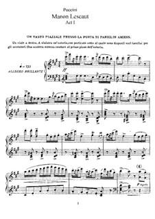 Manon Lescaut : Piano-vocal score by Giacomo Puccini