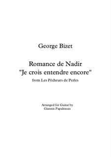 Je crois entendre encore: For guitar by Georges Bizet