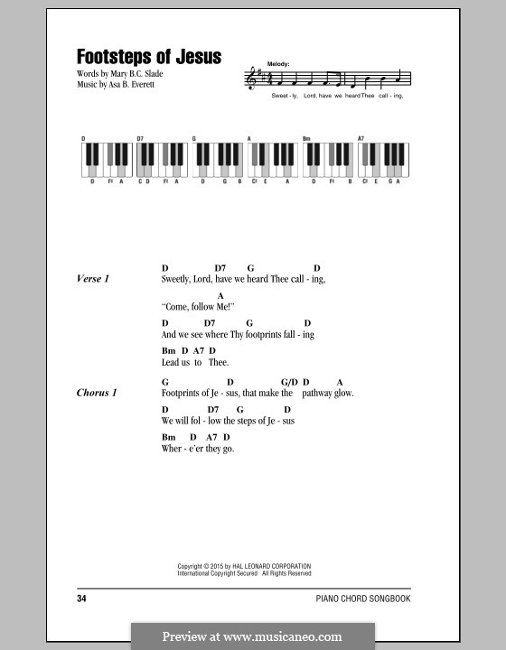 Footsteps of Jesus: Lyrics and chords by Asa B. Everett