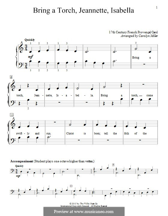 Bring a Torch, Jeannette Isabella: For piano by folklore