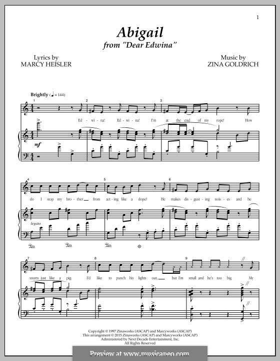 Abigail (from 'Dear Edwina'): For voice and piano by Zina Goldrich