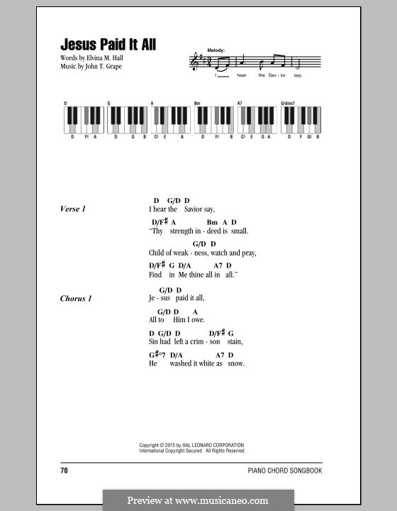 Jesus Paid It All By Jt Grape Sheet Music On Musicaneo