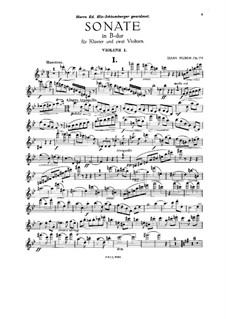 Sonata for Two Violins and Piano, Op.135: Violin I part by Hans Huber