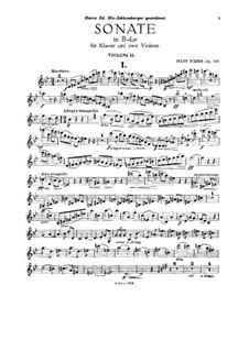 Sonata for Two Violins and Piano, Op.135: Violin II part by Hans Huber