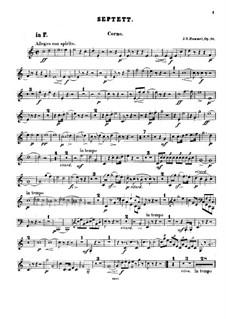 Septet No.1 in D Minor, Op.74: Horn part by Johann Nepomuk Hummel