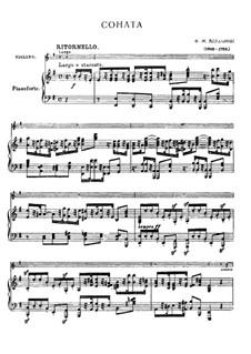 Sonata for Violin and Basso Continuo: Arrangement for violin and piano by Francesco Maria Veracini