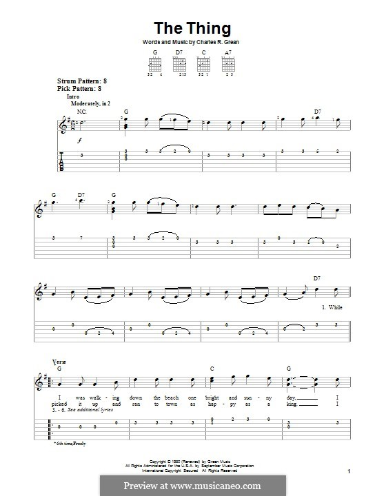 The Thing: For guitar with tab by Charles R. Grean