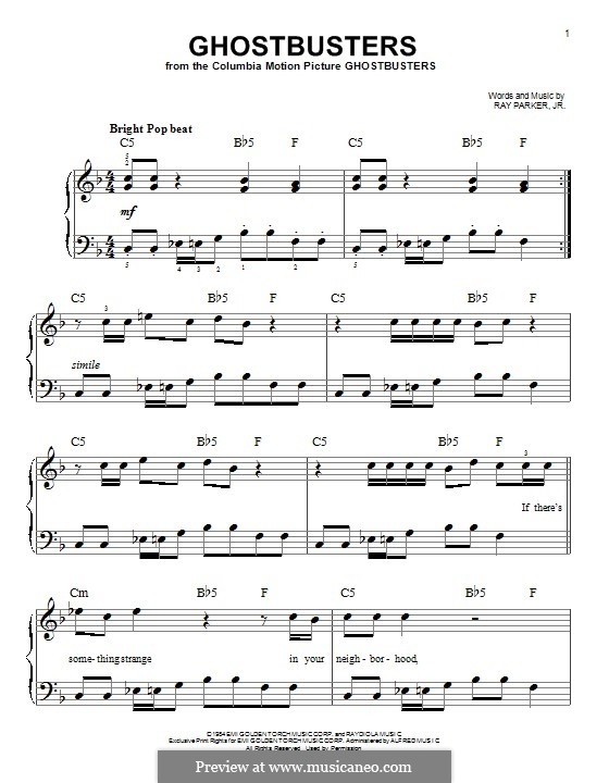 Ghostbusters: For piano by Ray Parker