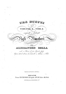 Three Duos for Violin and Viola, BI 95, 71, 45 Op.18: Three Duos for Violin and Viola by Alessandro Rolla