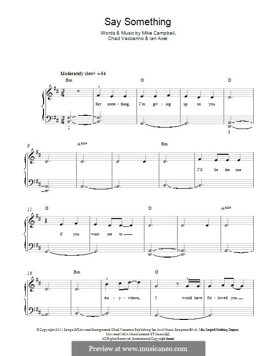 Say Something (A Great Big World): For piano by Ian Axel, Chad Vaccarino