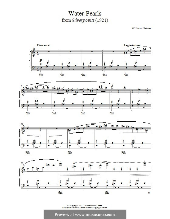 Water-Pearls (from 'Silverpoints'): For piano by William Baines