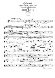 Quintet for Clarinet, Strings and Piano, Op.11: Violin зart by Josef Labor