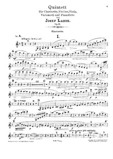 Quintet for Clarinet, Strings and Piano, Op.11: Clarinet part by Josef Labor