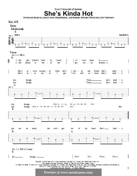 She's Kinda Hot (5 Seconds of Summer): For guitar with tab by Benji Madden, Joel Madden, John Feldmann, Michael Clifford, Ashton Irwin