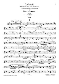 Quintet for Clarinet, Strings and Piano, Op.11: Viola part by Josef Labor