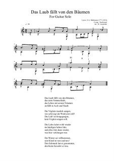 Das Laub fällt von den Bäumen: For guitar solo by folklore