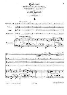 Quintet for Clarinet, Strings and Piano, Op.11: Full score by Josef Labor
