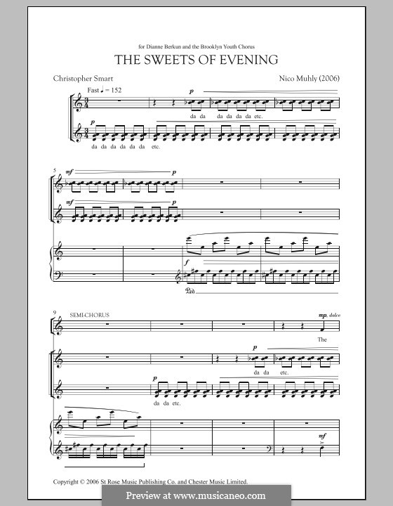 The Sweets of Evening: For voice and piano by Nico Muhly