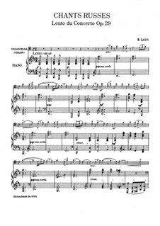 Russian Concert, Op.29: Movement II, for cello and piano – score by Édouard Lalo