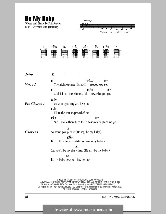 Be My Baby: Lyrics and chords (Ronettes) by Ellie Greenwich, Jeff Barry, Phil Spector