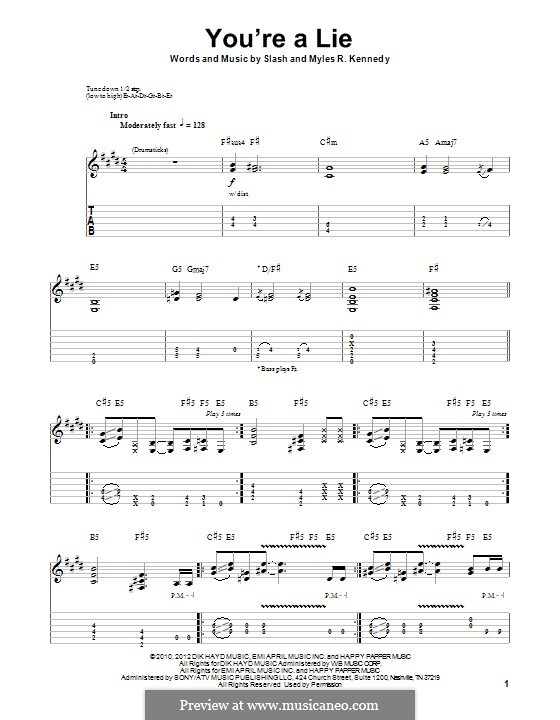 You're a Lie (Slash feat. Myles Kennedy and The Conspirators): For guitar with tab by Slash, Myles Kennedy
