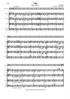 Spanish Dances for Cello and Piano, Op.54: Dance No.5, for cello and string orchestra - score and parts by David Popper