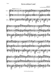 Four German Folk Songs for Alto, Tenor and Piano: Kein schöner Land, for two flutes and guitar by folklore