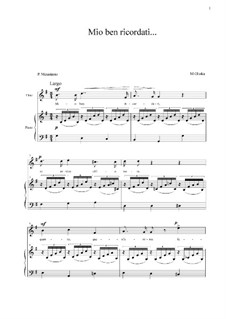 Mio ben ricordati: G Major by Mikhail Glinka
