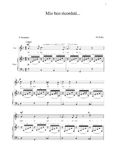 Mio ben ricordati: F Major by Mikhail Glinka