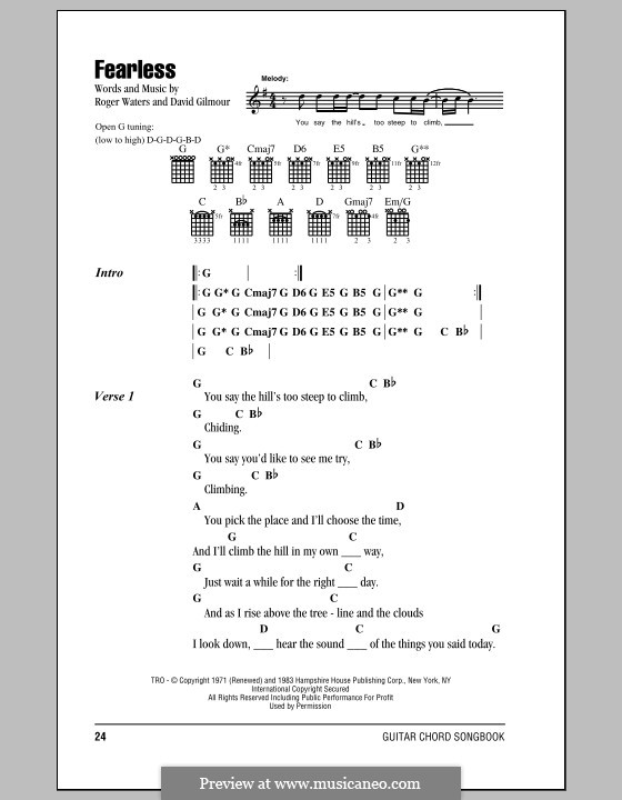 Fearless (Pink Floyd) by D. Gilmour, R. Waters - sheet music on ...