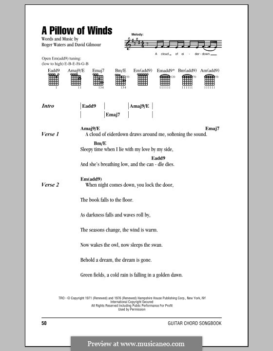 A Pillow of Winds (Pink Floyd): Lyrics and chords by David Gilmour, Roger Waters