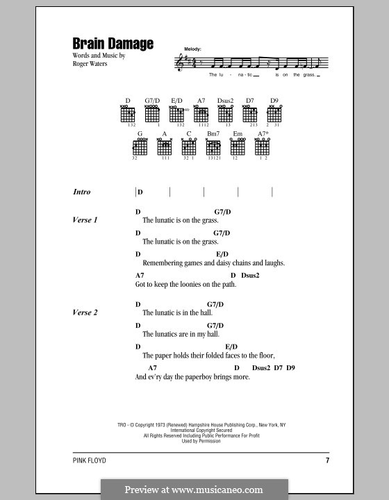 Brain Damage (Pink Floyd): Lyrics and chords by Roger Waters