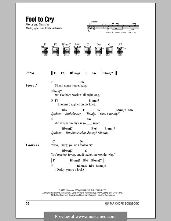 Fool to Cry (The Rolling Stones): Lyrics and chords by Keith Richards, Mick Jagger