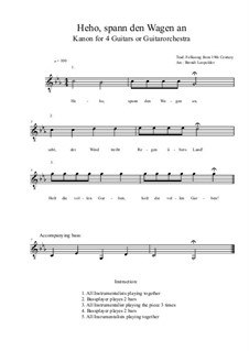 Heho, spann den Wagen an: For four guitars or guitarorchestra (c minor) by folklore