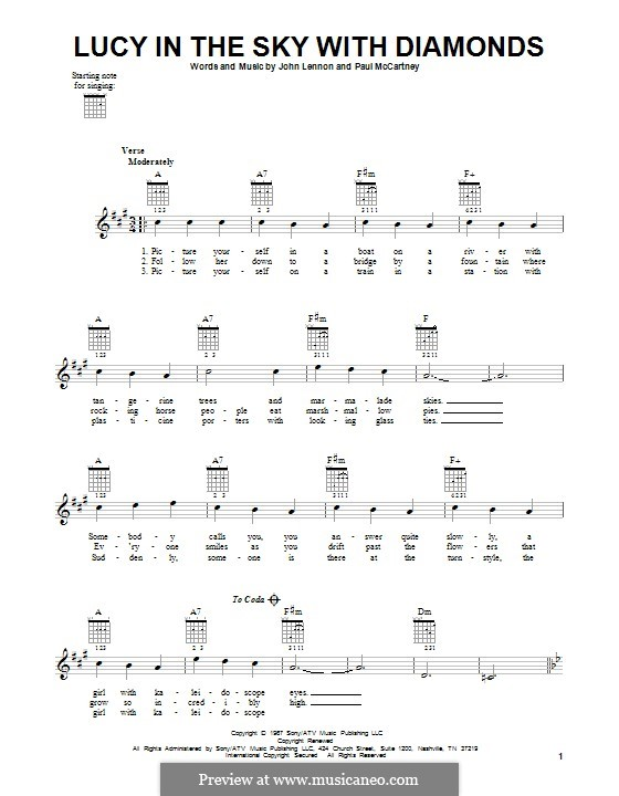 Lucy in the Sky with Diamonds (The Beatles): For guitar with tab by John Lennon, Paul McCartney