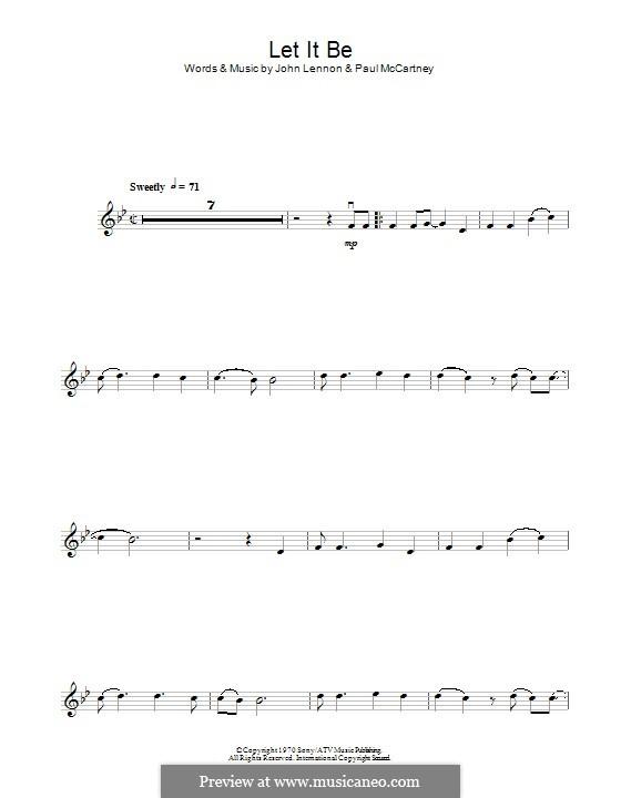 Let it Be (The Beatles): For violin by John Lennon, Paul McCartney