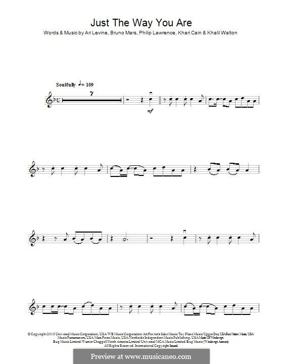 Just the Way You are: For violin by Ari Levine, Khalil Walton, Khari Cain, Bruno Mars, Philip Lawrence