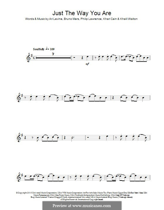 Just the Way You are: For clarinet by Ari Levine, Khalil Walton, Khari Cain, Bruno Mars, Philip Lawrence